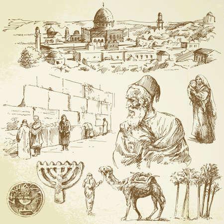 jeruzalem: jeruzalem - hand getrokken set Stock Illustratie