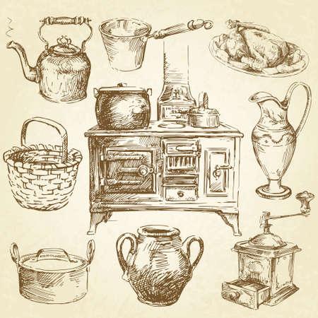 estufa: utensilios de cocina de época Vectores