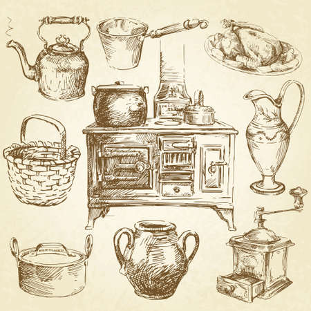 kitchen illustration: vintage kitchenware
