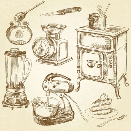 stove: vintage cookware, kitchen utensil - hand drawn set