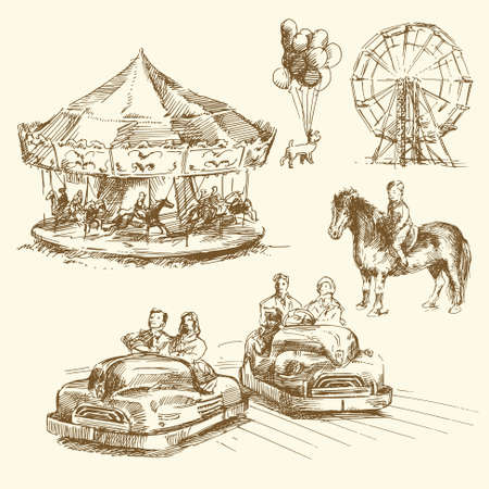 amusement park ride: carousel - hand drawn collection