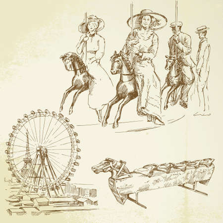 carnival ride: vintage merry go round - hand drawn set