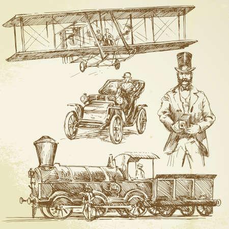 ballon dirigeable: bon vieux temps - dessin� � la main ensemble Illustration