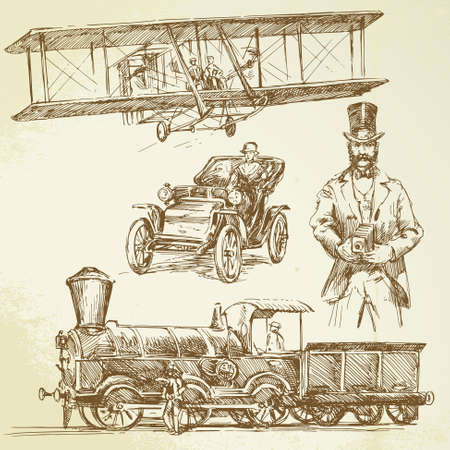 the locomotive isolated: old time - hand drawn set