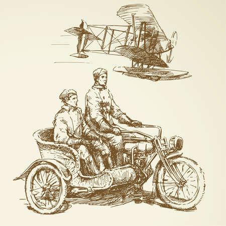 tricycle: vintage set - old time vehicles