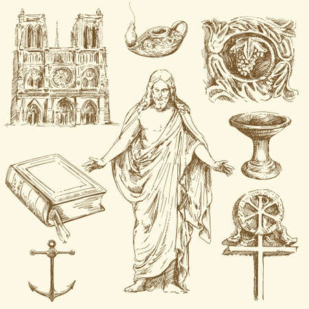 religion, christianity - hand drawn set Vector