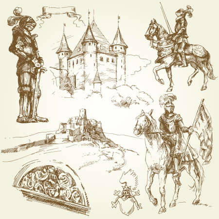 medieval scroll: middle age knights  Illustration