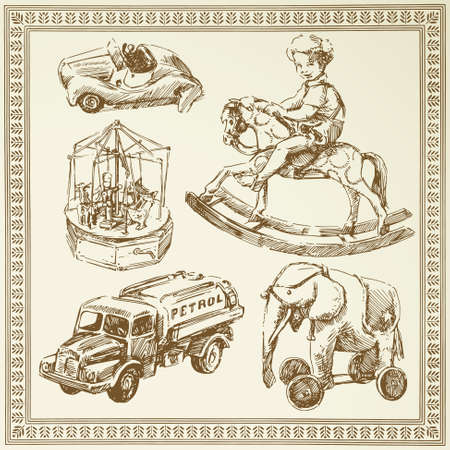 antique toys Vector