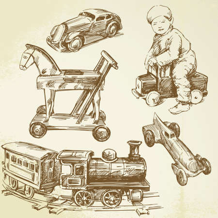 antique toys - hand drawn set  Vector