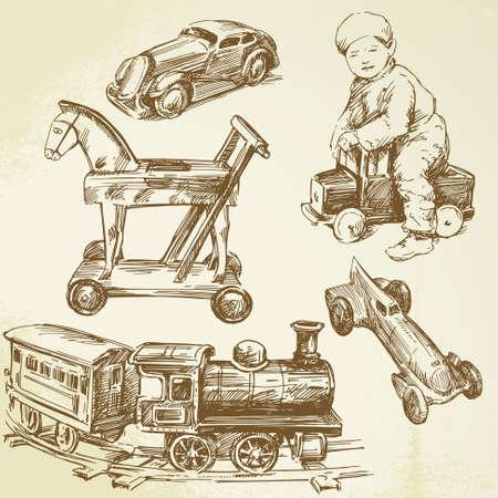 locomotora: juguetes antiguos - de mano elaborado conjunto Vectores