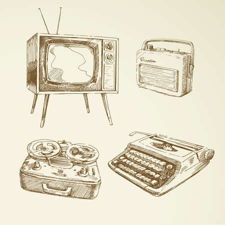 old fashioned tv: collection of vintage design