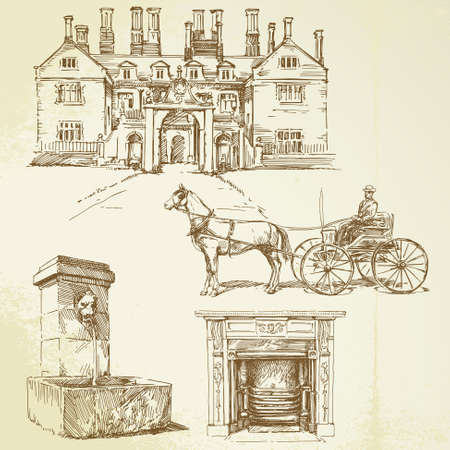 horse and carriage: victorian england - hand drawn