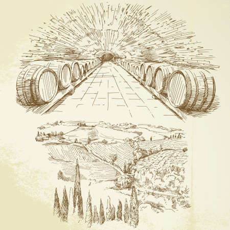 tuscany landscape: winery, vineyard - hand drawn set  Illustration