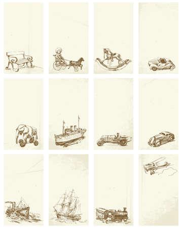 juguetes antiguos: grunge dibujados a mano tarjetas de visita con juguetes antiguos
