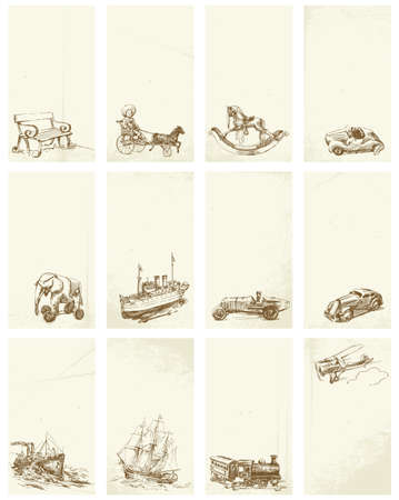airplane engine: grunge hand drawn business cards with vintage toys