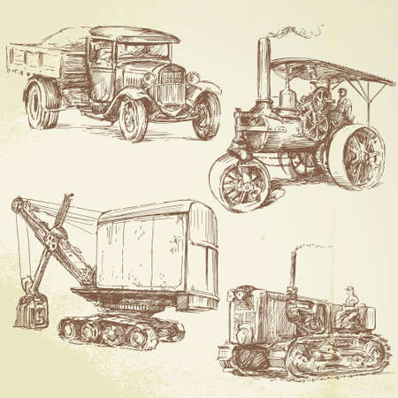 machine: vintage work vehicles Illustration