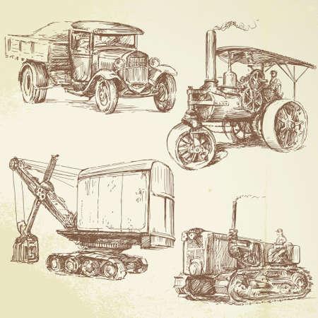 vintage work vehicles Иллюстрация