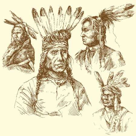 west usa: apache portrait - hand drawn collection Illustration