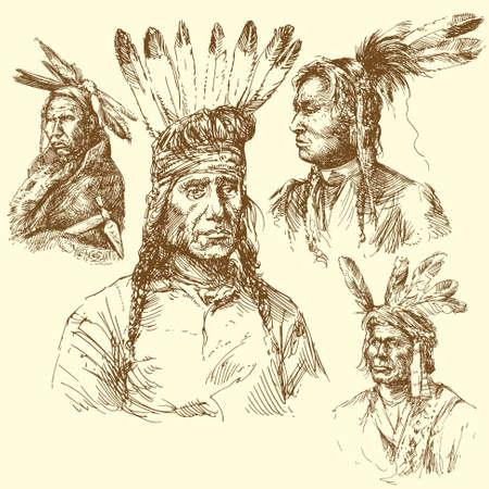 viejo oeste: retrato de apache - Por recolecci�n dibujado