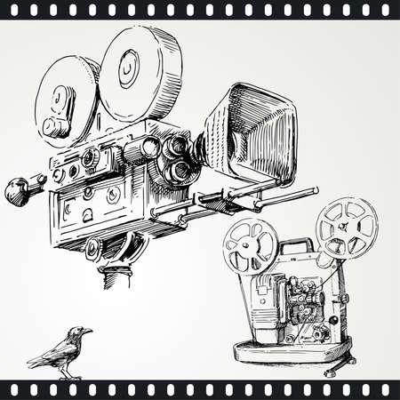 movie camera - hand drawn set Vector