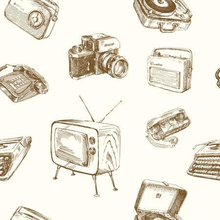 old fashioned tv: retro wallpaper - vintage design Illustration