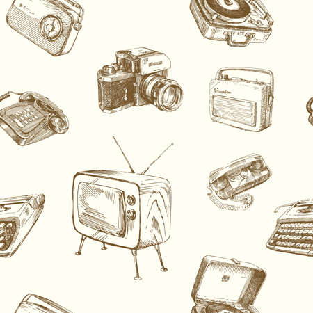 vintage television: retro wallpaper - vintage design Illustration