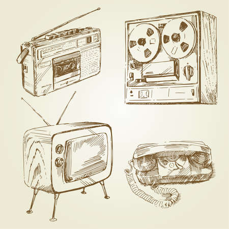 vintage, retro design - hand drawn set  Vector