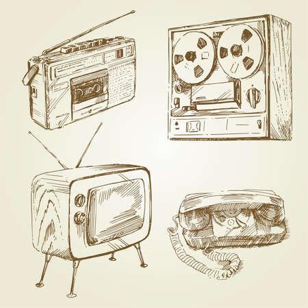 old fashioned tv: vintage, retro design - hand drawn set