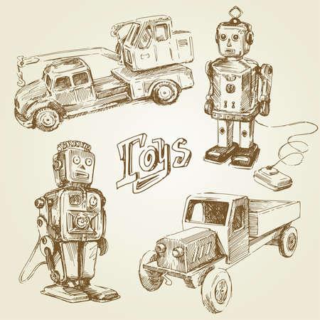 carritos de juguete: juguetes antiguos, antiguos - de la mano Vectores