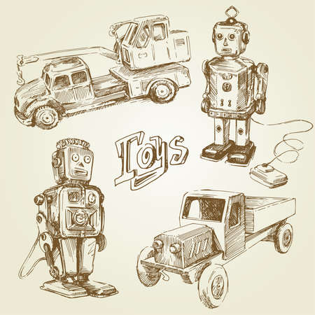 vintage, antique toys - hand  Vector
