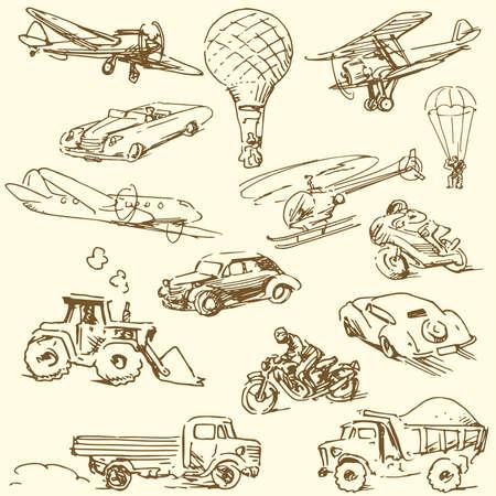 old tractor: reizen doodles - hand getekende retro set