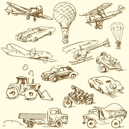 propellers: travel doodles - hand drawn retro set