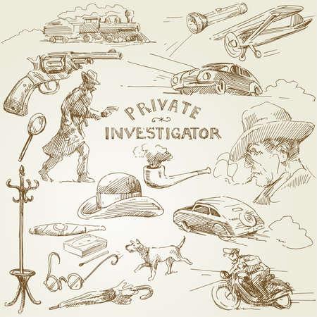 kontrolleur: Privatdetektiv - Hand gezeichnete Sammlung Illustration