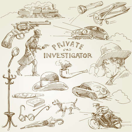 private investigator - hand drawn collection  Illustration