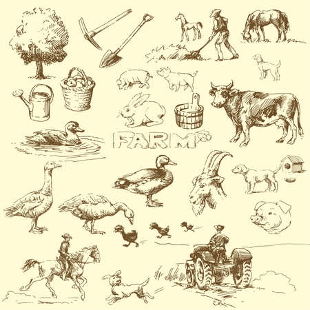 farm-hand drawn set  Vector