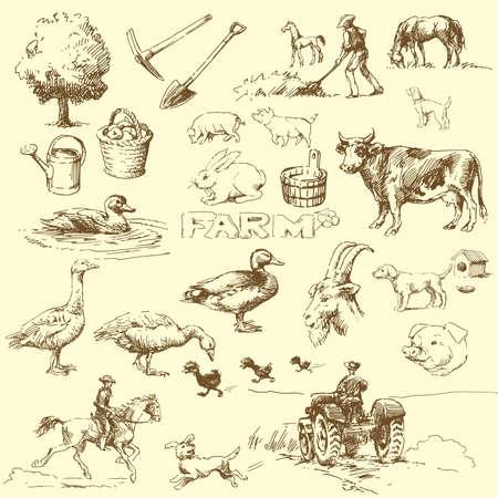 organic farming: farm-hand drawn set