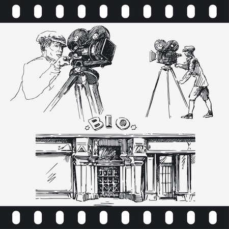 men with movie camera Stock Vector - 13571737