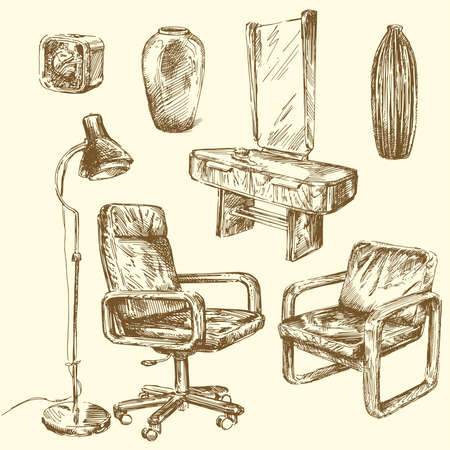 retro furniture-hand drawn set  Vector