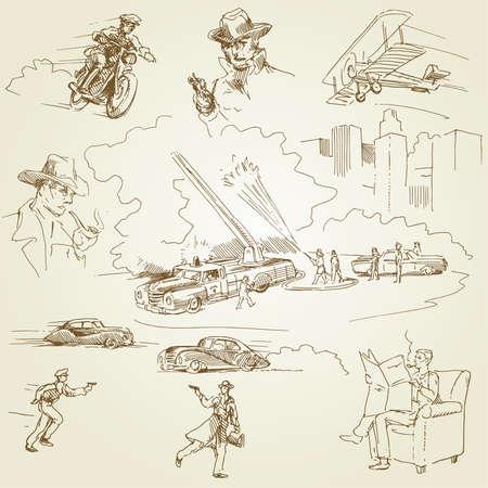 gangster with gun: firemen - doodles  Illustration