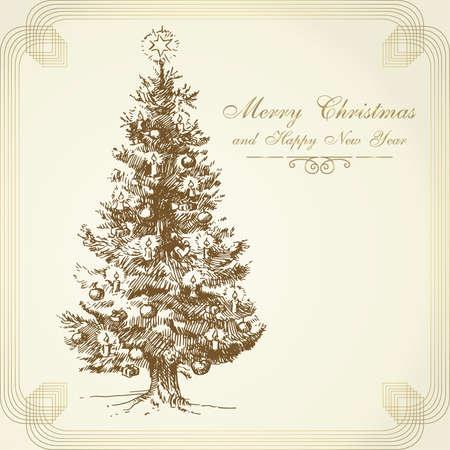 weihnachten vintage: Weihnachtshintergrund Illustration