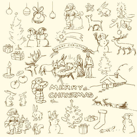 santa sleigh: christmas doodles  Illustration