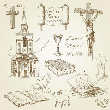 eucharistie: collection christianisme-dessinés à la main