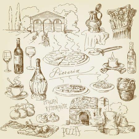 restaurante italiano: colección de pizza dibujado a mano