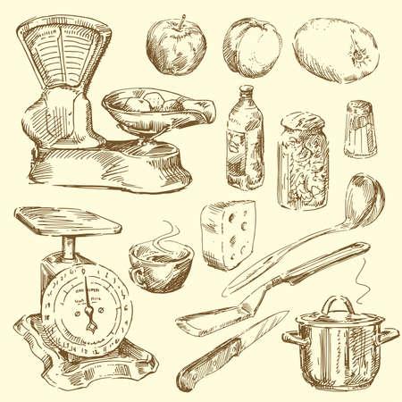 utensilios de cocina Ilustración de vector