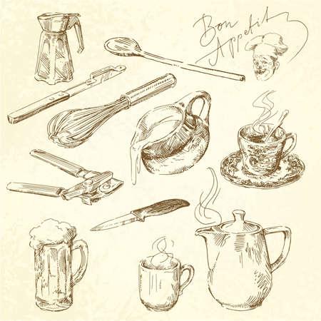 milk tea: kitchen utensils Illustration