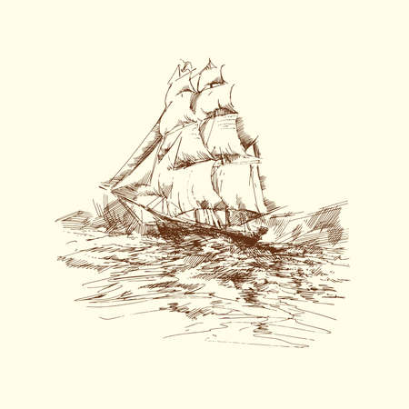 tall ship: hand drawn ship