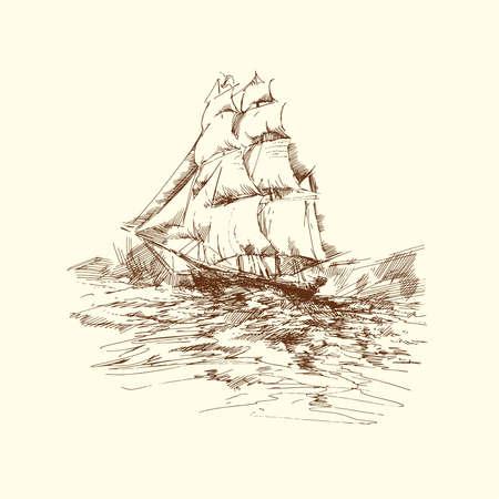 brig ship: hand drawn ship