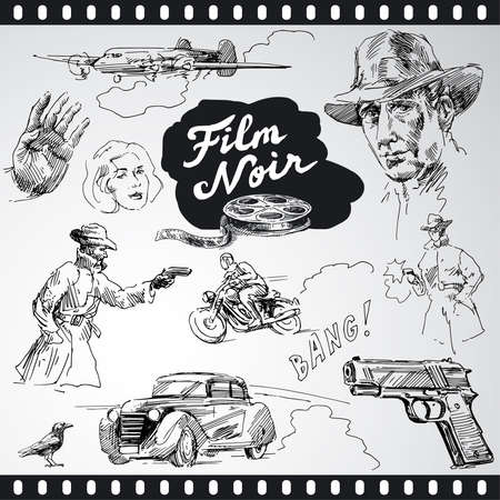 film noir - hand drawn collection  Vector