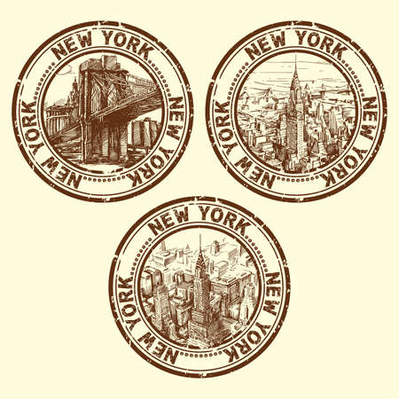 retro sticker: grunge rubber stamp with new york - vector illustration  Illustration