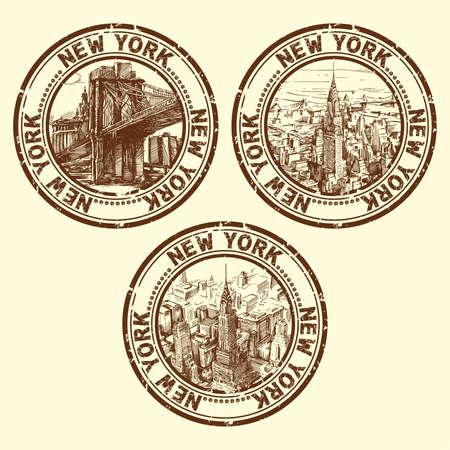 rubber stamp: grunge rubber stamp with new york - vector illustration  Illustration